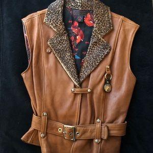 NWOT Ondie Towne leather motorcycle vest